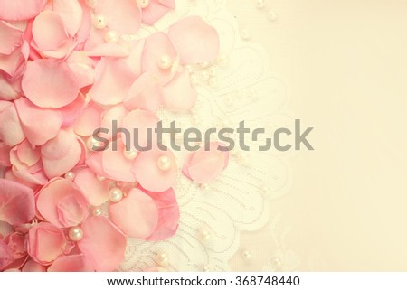 Beautiful pink rose petals with pearls