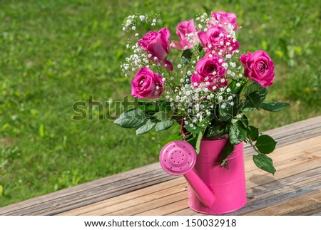 Beautiful pink roses in a pink watering can