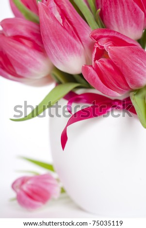 Beautiful pink tulips in a vase on a white background
