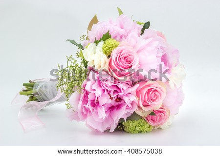 Beautiful pink wedding bouquet isolated on white