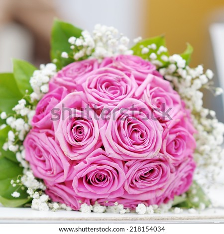 Beautiful pink wedding flowers bouquet - stock photo