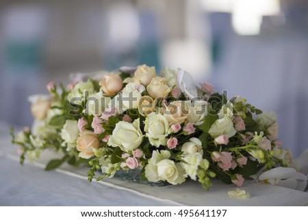 Beautiful pink, white and yellow  roses. Wedding