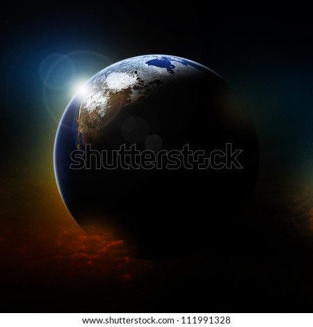 Beautiful planet Earth and  Sun