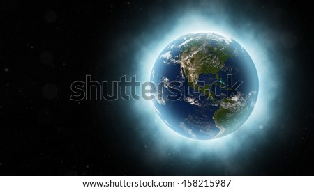 Beautiful Planet Earth's Radiant Light Through The Universe - 3D Illustration (Elements of this image furnished by NASA)