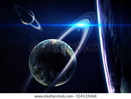 Beautiful Planets in deep black cosmos with space background. Elements of this image furnished by NASA - stock photo