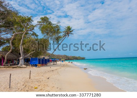 Beautiful Playa Blanca or White Beach on the Caribbean island of Isla Baru, close to Cartagena, Colombia