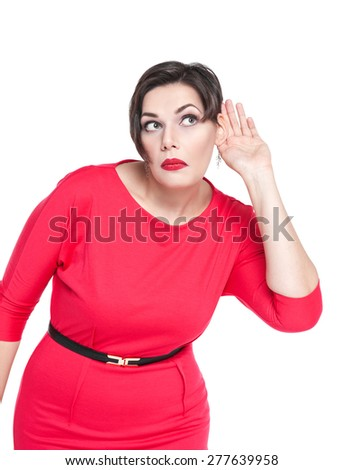 Beautiful plus size woman listening with hand to ear concept isolated - stock photo