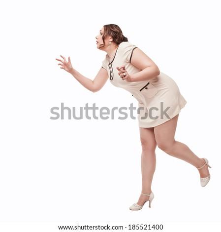 Beautiful plus size woman wish for something - stock photo