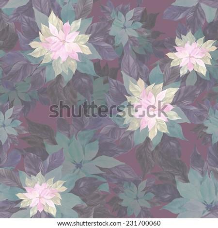 Beautiful  Poinsettia plant seamless pattern. - stock photo
