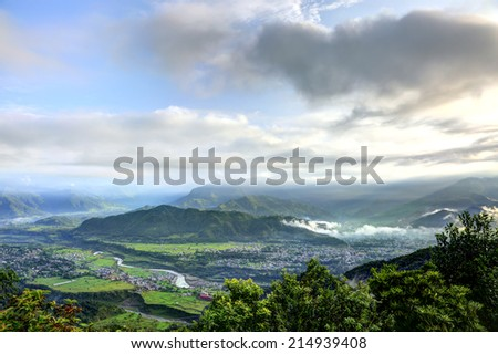 Beautiful pokhara valley from Sarangkot - stock photo
