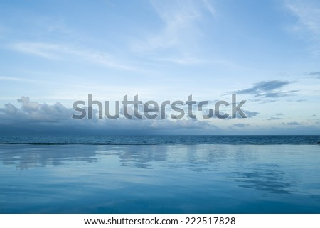 Beautiful pool view against sea - stock photo