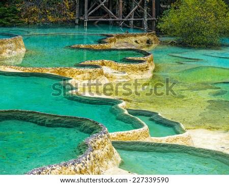 Beautiful pools in Huanglong National Park near Jiuzhaijou - SiChuan, China - stock photo