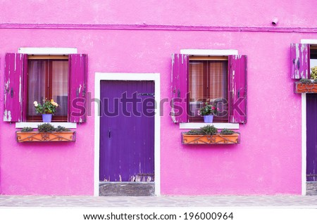 Beautiful porch decorated with flowers in Italy - stock photo