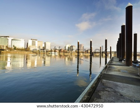 Beautiful portland skyline from east bank - stock photo