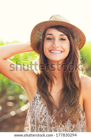 Beautiful portrait of a carefree happy girl with  amazing smile and cute looks. Summer lifestyle - stock photo