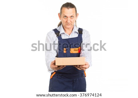 Beautiful portrait of a delivery man. White background.