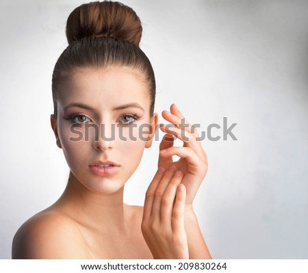 Beautiful portrait of a girl with a European appearance - stock photo