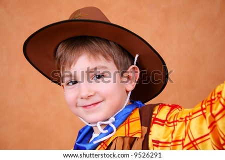 Beautiful portrait of a little sheriff - stock photo