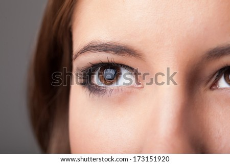 Beautiful portrait of a pretty girl close up eye