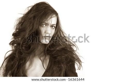 Beautiful Portrait of a very sexy woman on grey - stock photo
