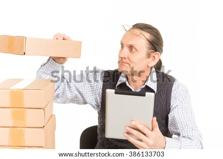 Beautiful portrait of a warehouse worker. White background.