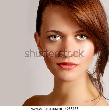 Beautiful Portrait of a young Glamour Model - stock photo