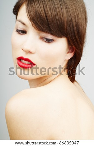 beautiful portrait of a young woman - stock photo