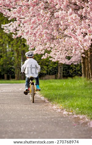 Beautiful portrait of adorable little caucasian boy, riding a bike on an alley in a cherry blossom tree garden, late spring afternoon, biking away, vertical composition - stock photo