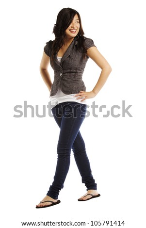Beautiful portrait of asian woman against white background