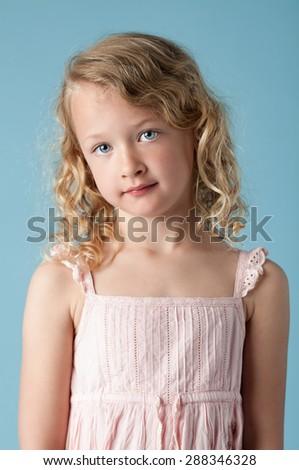 Beautiful portrait of little girl - stock photo