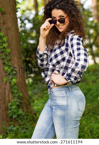 Beautiful Portuguese Sexy Woman with Sunglasses - stock photo