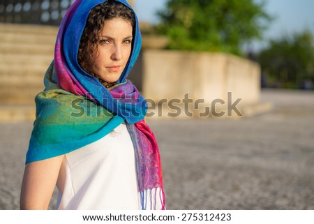 Beautiful Portuguese Woman at Sunset, Arabic Style