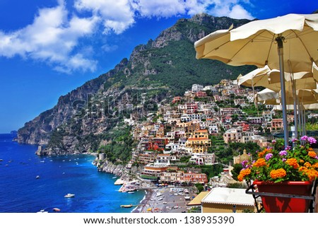 beautiful Positano - scenic Amalfi coast. Italy - stock photo