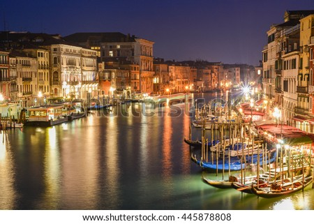 Beautiful postcard with Venice architecture, reflected in the water of the Grand canal  - stock photo