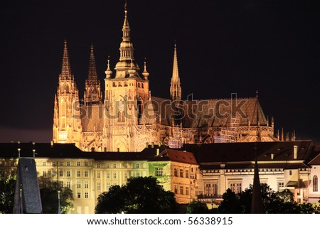 Beautiful Prague gothic Castle in the Night - stock photo