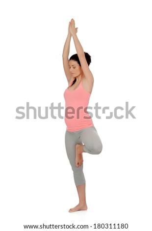 Beautiful pregnant woman doing yoga isolated on white background