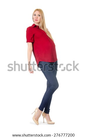 Beautiful pregnant woman isolated on white - stock photo