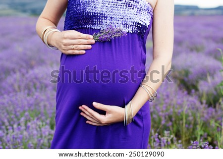 Beautiful pregnant woman resting in the lavender field - stock photo