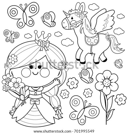 Beautiful Princess Holding Spring Flowers Unicorn And Butterflies Black White Coloring Page Illustration