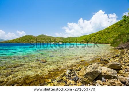 Beautiful pristine Caribbean beach in Saint John in the United States Virgin Islands. - stock photo
