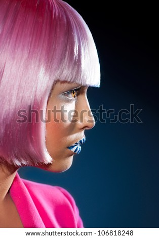 Beautiful profile of the girl - stock photo