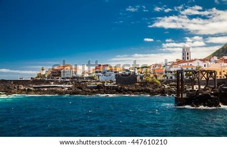 beautiful promenade of Garachico village, Tenerife, Canary Islands, Spain - stock photo