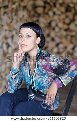 beautiful proud brunette woman wearing elegant stock photo