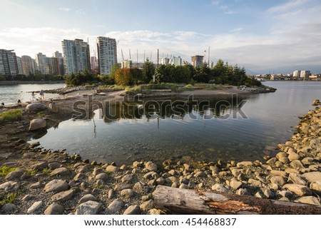 Beautiful public park in False Creek, Downtown Vancouver, British Columbia, Canada. Taken on a cloudy evening before sunset.