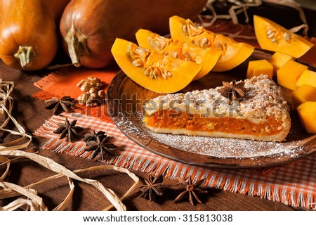 beautiful pumpkin pie and star anise - stock photo