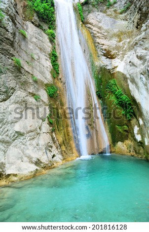 Beautiful pure clean waterfall near Nidri on the island of Lefkada in Greece - stock photo