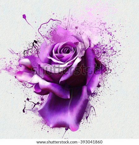 Beautiful purple rose closeup on a white background, with elements of the sketch and spray paint, as illustration for the cover of a notebook or Notepad, or print for garment - stock photo