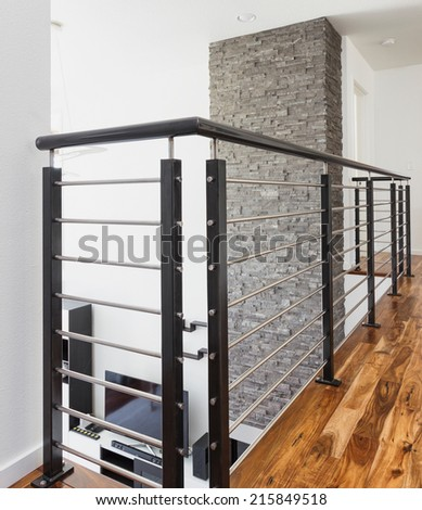 Beautiful Railing Detail in New Home - stock photo