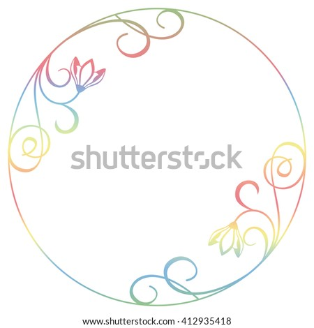 Beautiful raster gradient filled round frame with snowdrops silhouettes. Elegant background for advertisements, flyer, web, wedding and other invitations or greeting cards.