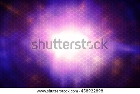 Beautiful rays of light hexagon,Nanotechnology abstract background - stock photo